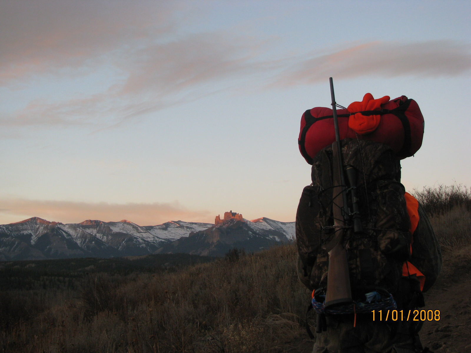 Starting up the trail at dawns first light.