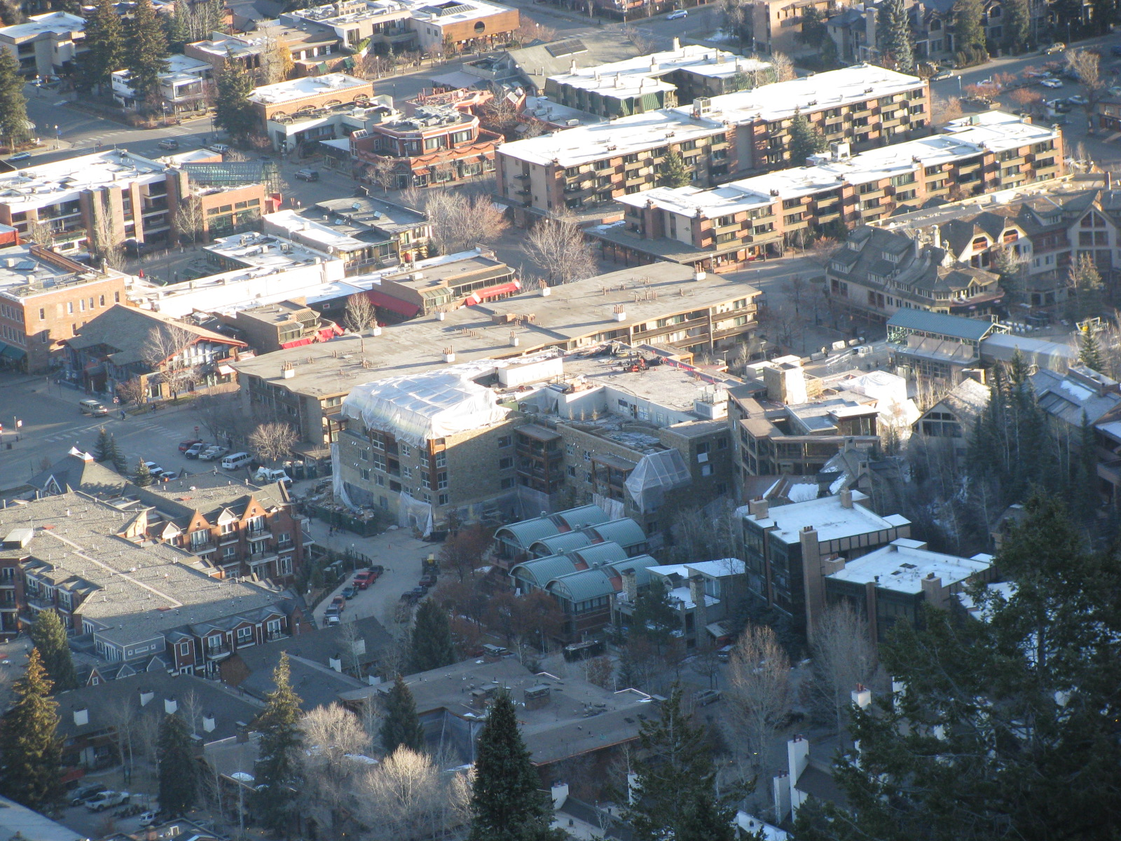 View of the jobsite from up on Aspen Mountain